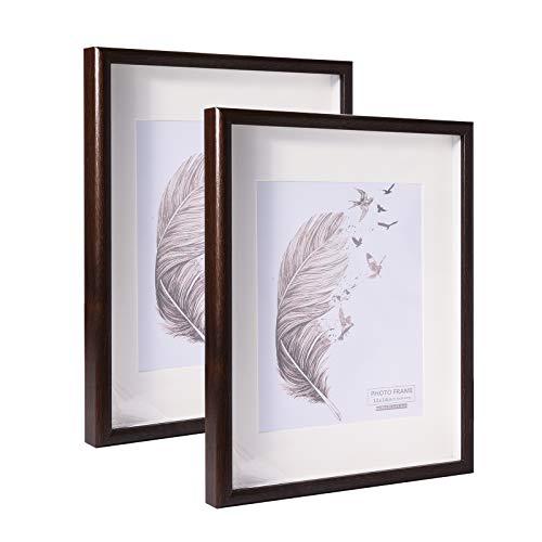 Metrekey 28x35 Bilderrahmen 3D Tief mit Plexiglas zum Befüllen, Hozl Rahmen mit Passepartout für 20x25 cm, 2er Set, Braun Fotorahmen für Tischdisplay und Wandbehang
