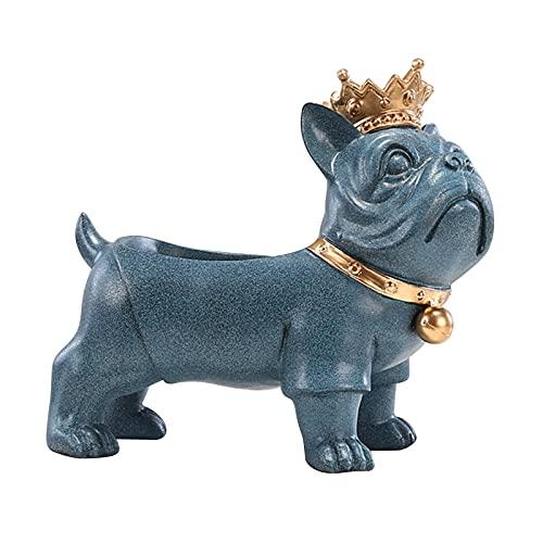 DQDL Vassoio Portaoggetti per Figurine Bulldog, Portachiavi in Resina Portachiavi da Tavolo Organizzatore di Snack per Caramelle per La Decorazione Domestica,Blu,L
