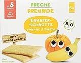 Freche Freunde Bio Knusper-Schnitte 'Banane & Kürbis', Knusperbrot für Kinder & Babys ab 8 Monaten, ohne Zuckerzusatz, ideal beim Zahnen, 6er Pack (6 x 84 g)