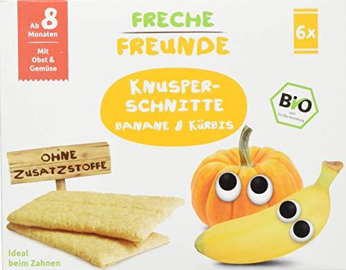 Freche Freunde Bio Knusper-Schnitte Banane & Kürbis, Knusperbrot für Babys ab 8 Monaten, Baby Knabberzeug ohne Zusatzstoffe, ideal beim Zahnen, 6er Pack