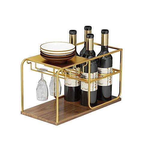 CESULIS Dormitorio Almacenamiento Rack Multi-función Mesa Rack Vino Decoración Creativa Marco Oro Vino Display