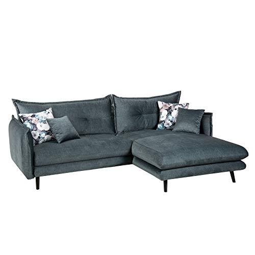 riess-ambiente.de Elegante Wohnlandschaft Shiva 250cm Petrol Samt mit Zierkissen Sofa Couch Eckcouch