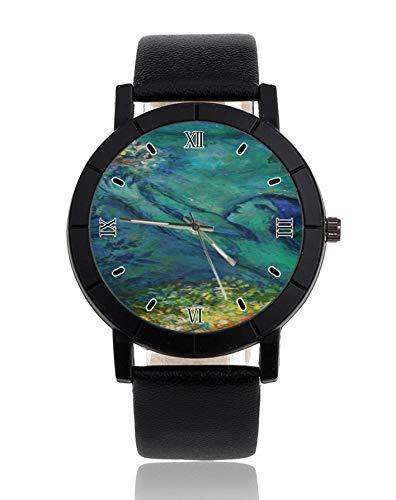 Chagall Detail Frau mit Blumen Armbanduhr Lederband Uhr Kleid Casual Uhren für Mann