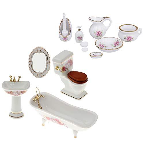 sharprepublic 1/12 Muebles De Porcelana para Baño Juego De Dispensador De Jabón De Baño De Ducha En