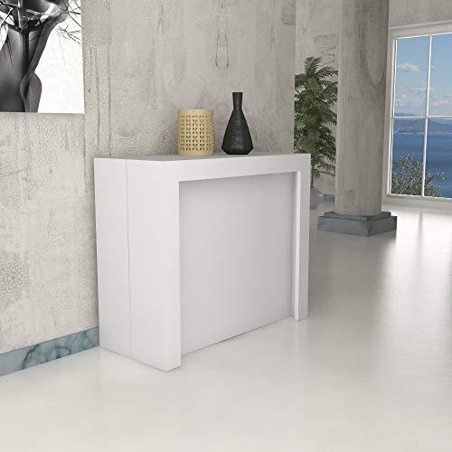 Ve.Ca. Tavolo consolle Marte con porta prolunghe, allungabile fino a 300 cm, in diverse finiture legno, arredo casa e cucina (Bianco frassinato)