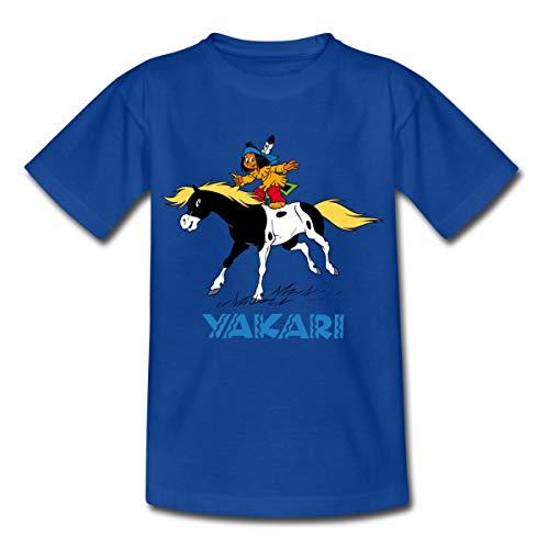 Yakari Auf Kleiner Donner Kinder T-Shirt, 122-128, Royalblau