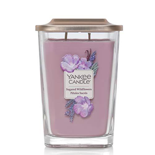 Yankee Candle Candela quadrata con 3 stoppini, motivo: fiori selvatici, Fiori selvatici zuccherati, Grande