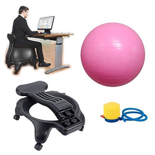 BODODO Balance Ball Chair/Palla Fitness Sedile Sedia/Active Chair con Palla, per Esercizi Sedia per Casa e Ufficio Sedia da Scrivania, può Regolare la Posizione Seduta