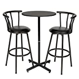 Roundhill Furniture Nor Hill 3-Piece Black Metal Height Bar Table Set with 2 Stools, 29-Inch