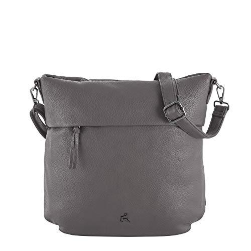Prato Kunstleder Beuteltasche Olivia mit Schulterriemen für Damen, Alltagstasche, sportliche Hobobag (33x32,5x11cm) (grey)