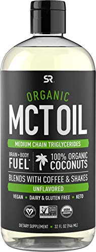 Organic MCT Oil derived from Non-GMO Organic Coconuts | Great in Keto Coffee, Tea, Smoothies & Salad Dressings | Non-GMO Project Verified & Vegan Certified - Unflavored (32oz)