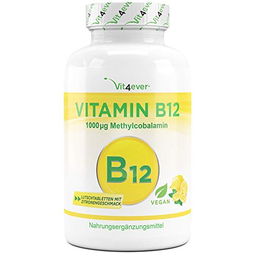 Vitamine B12 Veganistisch - 365 zuigtabletten met citroensmaak - Premium: Actieve Methylcobalamine - Hoge Dosis