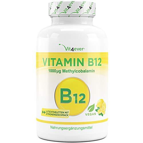 Vitamina B12 Vegan - 365 pastiglie al gusto di limone - Premium: Metilcobalamina attiva - Alto dosaggio