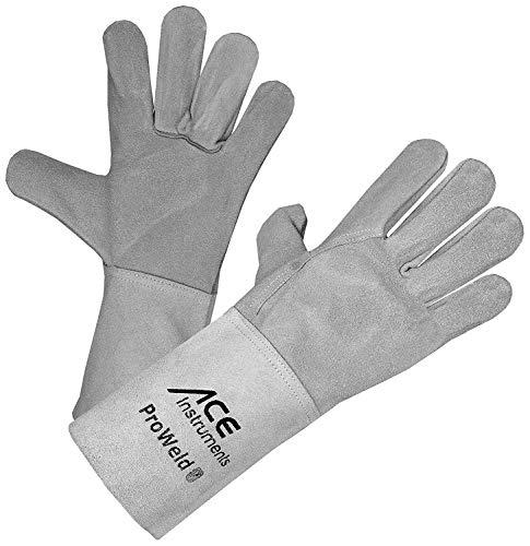 ACE ProWeld Schweißerhandschuhe - Lange Leder-Schutz-Handschuhe für Schweißer - EN 388/12477 - Weiß/Grau - 11/XL