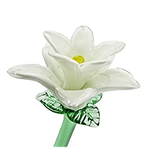 White Glass Tiger Lily Flower, One-of-a-kind. Life Size 20″ long. FREE SHIPPING to the lower 48 when you spend over $35.00