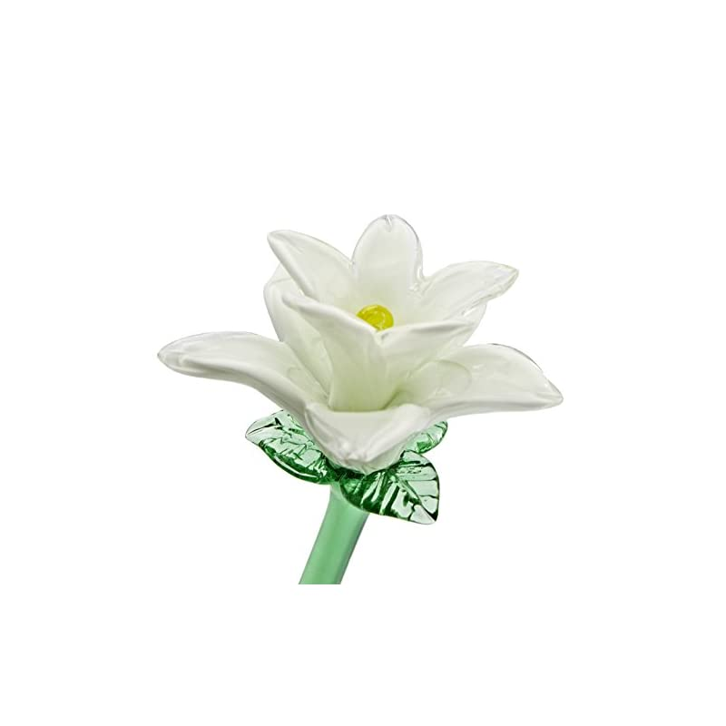 """silk flower arrangements white glass tiger lily flower, one-of-a-kind. life size 20"""" long. free shipping to the lower 48 when you spend over $40.00"""
