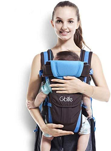 4 en 1 Multifunción Mochila Portabebé Ergonómica Portador de Bebé Transpirable Adjustable Portabebés Marsupi Fular para bebé Recien Nacido (Azul)