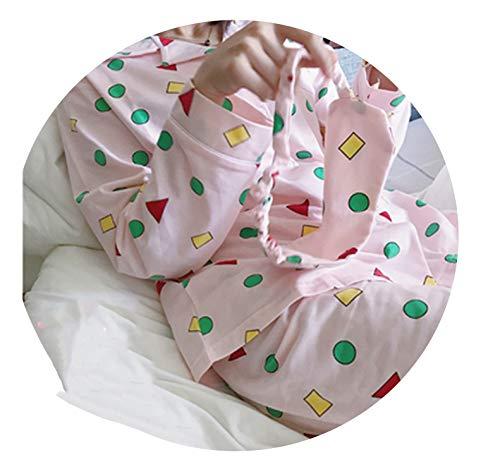 Secret 123 Juego de Pijama de algodón Estilo Coreano Kawaii japonés Shin Chan Pijama Pijama - Rosa - M