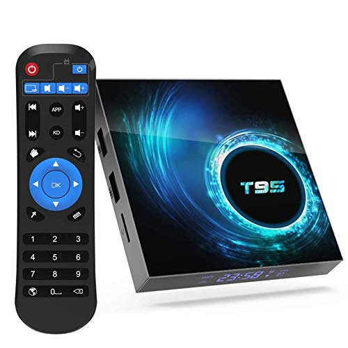2021 Android 10.0 TV Box T95 4GB RAM 128GB ROM Allwinner H616 Quad-core ARM cortex-A53 CPU, Smart Box Supports 3D 4K 6K UHD H.265, with 2.4G/5G Dual-Band WiFi 100M Ethernet BT4.0