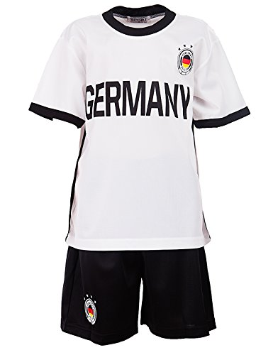 24brands Kinder Jungen Germany Italy Trainings Fussball Set Trikot T-Shirt Shorts Zweiteiler Deutschland Italien- 3040 , Größe:140;Farbe:Deutschland Schwarz