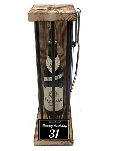 * Happy Birthday 31 Geburtstag - Eiserne Reserve ® Black Edition Erdinger Weißbier 0,50L incl. Säge zum zersägen der Stäbe - Die lustige Geschenkidee
