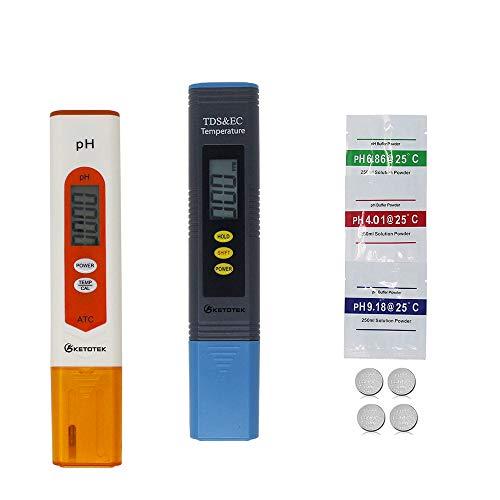 KETOTEK pH TDS EC Temperature Meter Digital Water, pH Meter TDS PPM EC...