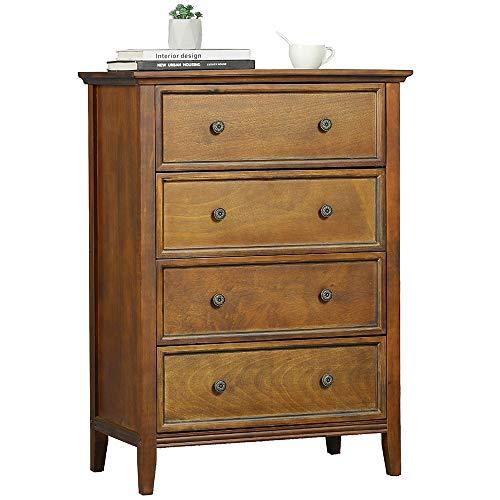 DICTAC Kommode mit 4 Schubladen, Kommode Vintage aus Massivholz, Organisator für Lagerturmkleidung, für großen Schrank, Schlafzimmer, Wohnzimmer (Vintage)