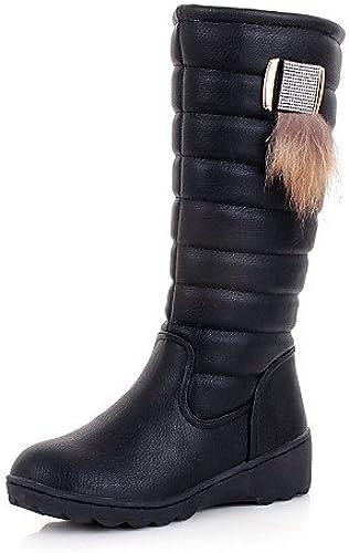 XZZ  zapatos de mujer - plataforma - Comfort   botas de Nieve   Punta rojoonda - botas - Vestido   Casual - Semicuero   Tejido -negro   marrón