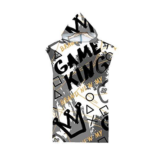 Poncho con Capucha para Adultos Consola de Juegos Gamepad Graffiti Hip Hop Albornoz 75x110cm Toalla de Playa con Capucha Toalla de Secado Rápido para Nadar para Hombres (Color 9)