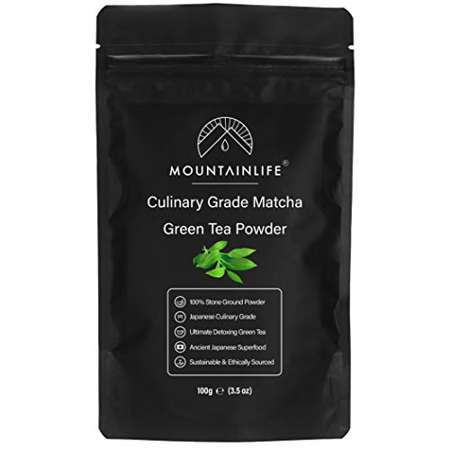 Mountainlife Matcha Green Tea Powder, 100g, Culinary Grade, Authentic Japanese Matcha, 100% Stone Ground Powder, Ancient Japanese Superfood Detoxing Tea, Vegan & Organic Matcha Green Tea Powder