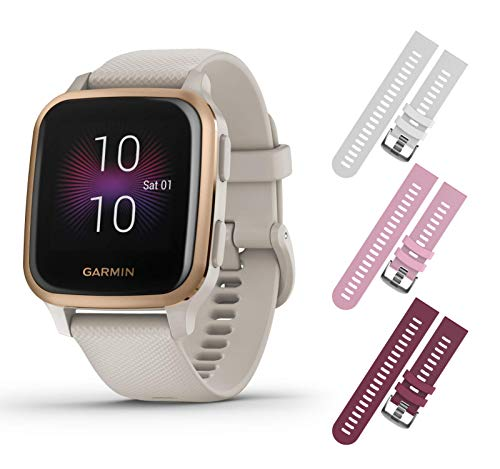 Garmin Venu Sq Music GPS Fitness Smartwatch and Included Wearable4U 3 Straps Bundle (White/Pink/Berry, Light Sand/Rose...