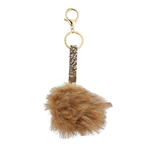 Lux Accessories - Llavero con pompón de Piel marrón y Piedra 13 cm Marrón