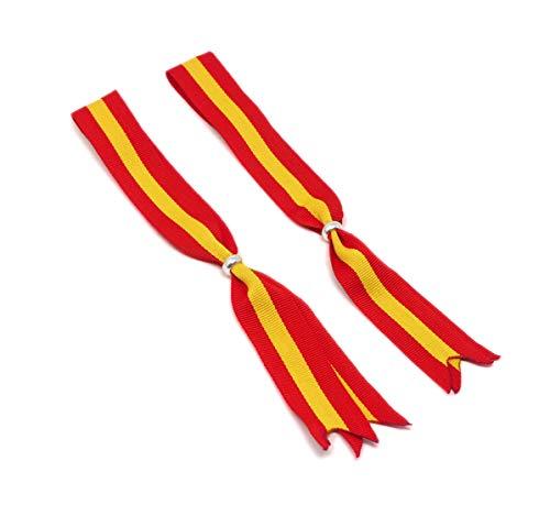 Cinta España Pack de 2 Cintas para Colgar en el Retrovisor del Coche Adorno Colgante Espejo Interior Automóvil Colores Amarillo y Rojo Colores de la Bandera de España