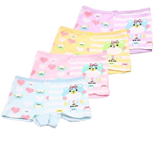 FAIRYRAIN FAIRYRAIN 4 Pcs Baby Kleinkind Mädchen Catroon Pantys Hipster Shorts Spitze Baumwollunterhosen Unterwäsche 6-8 Jahre