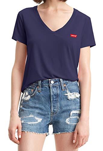 Levi's Perfect Vneck T-Shirt, Blue (Sea Captain Blue 0005), X-Small Donna