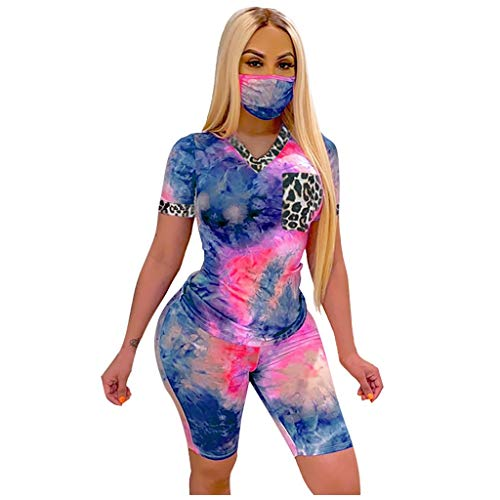 Review Toimothcn Women Sportswear Tie-Dyed Short Sleeve Tops Skinny Shorts 2 Piece Outfits Set(Hot P...