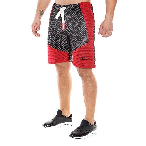SMILODOX Herren Shorts 'Limited 2.0' | Kurze Hosen für Sport Fitness Gym | Jogginghose - Freizeithose - Trainingshose - Sweatpants Jogger - Sporthose Kurz, Farbe:Schwarz/Bordo, Größe:S