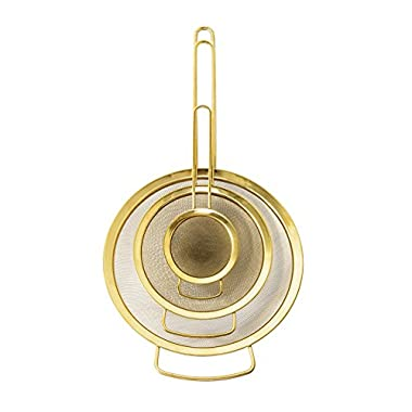 Bloomingville A21183953 Stainless Steel Strainers, Gold