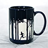 Male Runner Coffee Cup Engraved Gift for Trail Runner Blue Coffee Running Tea Mug Valentines Day Gift for Boyfriend