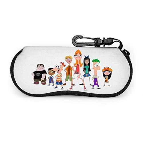 RachelReichert Phineas y Ferb The Movie - Funda para gafas de sol con mosquetón, ultraligera y portátil, de neopreno, con cremallera, para gafas de sol