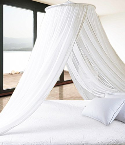 Pure White Extra Thick Elegant Round Top Bed Canopy (Mosquito Net) - Holiday Resort Style by Leisure Bargains