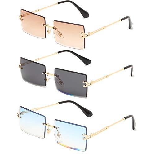 Long Keeper Occhiali da sole rettangolari senza montatura Occhiali da sole quadrati senza montatura UV400 moda antiriflesso per donna (Marrone+Grigio oro+Blu)