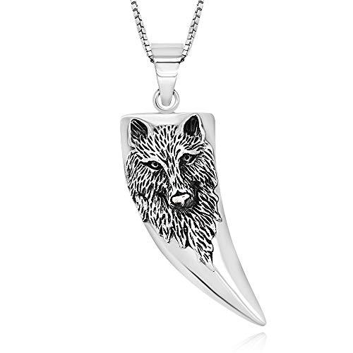 Collar de plata de ley 925 oxidada con colgante de lobo con cabeza de lobo, 45,7 cm