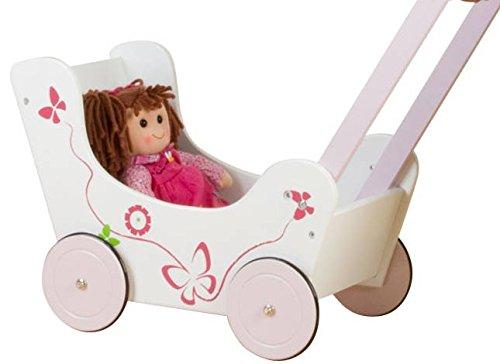 Besttoy Holz Puppenwagen mit Schmetterlingsmotiv