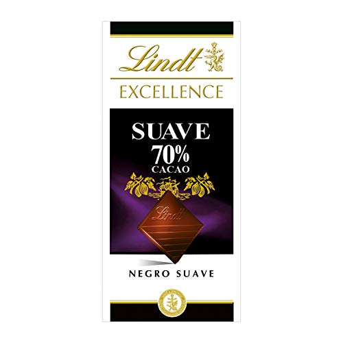 Tableta de chocolate negro Lindt Excellence 70% Cacao Suave - 100 g, pack de 5