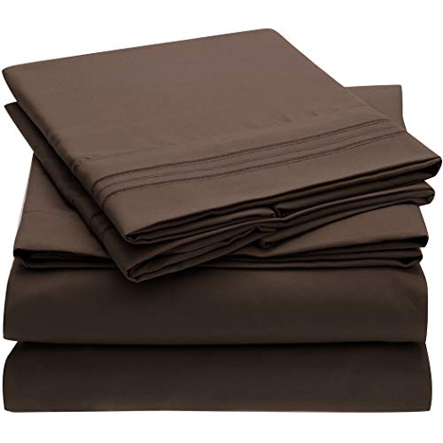 Mellanni Bed Sheet Set - Brushed Microfiber 1800 Bedding - Wrinkle, Fade, Stain Resistant - 4 Piece (Full, Brown)