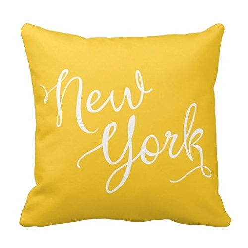 Housse de coussin 45,7 x 45,7 cm Motif typographie de New York Chic Jaune et blanc