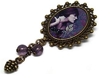 Spilla retro resina LADY viola rosa verde ottone bronzo 18 x 25mm perle in vetro regalo personalizzato noel amico complean...
