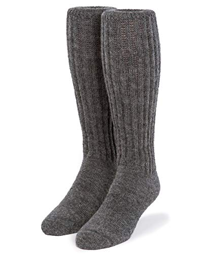 Warrior Alpaca Socks - Second to None Thick Alpaca Wool Terry Lined Boot Socks - Unisex, Medium Gray, Large