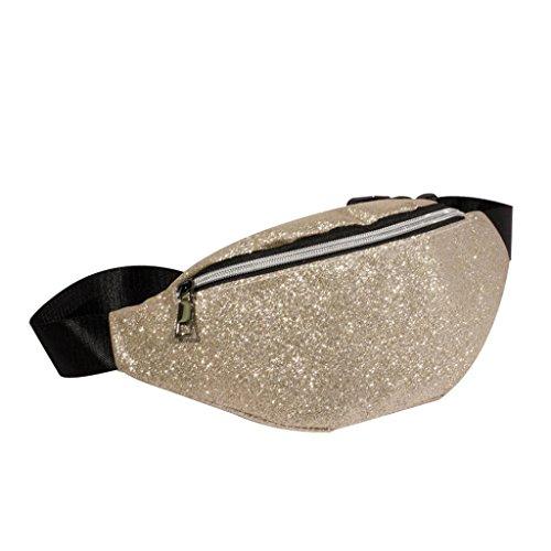 VJGOAL Damen Bauchtasche, Damen Mode Bling Pailletten Zip Party Strand Schulter Messenger Cross Chest Bag Clutch (Beige)